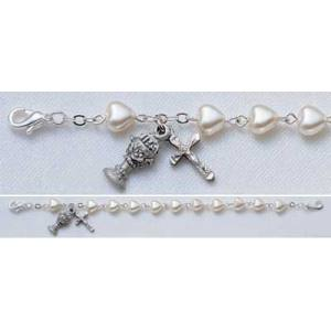 First Communion Bracelet with 6mm Pearl Heart Beads