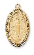 Miraculous Medal in Gold Plated Sterling Silver - Medium Oval