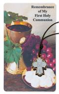 4-Way Olive Wood Pendant with First Communion Holy Card
