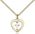 Two-Tone SS - GF Heart - Cross Necklace #87568