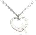 Sterling Silver Heart - Cross Necklace #87616