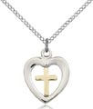 Two-Tone GF - SS Heart - Chalice Necklace #87625