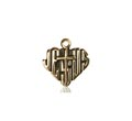 14kt Gold Heart of Jesus - Cross Medal #88025