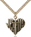 Gold Filled Heart of Jesus - Cross Necklace #88027