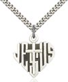 Sterling Silver Heart of Jesus - Cross Necklace #88030