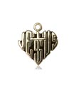 14kt Gold Heart of Jesus - Cross Medal #88033