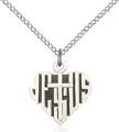 Sterling Silver Heart of Jesus - Cross Necklace #88034