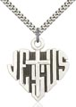 Sterling Silver Heart of Jesus - Cross Necklace #88038