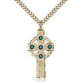 Kilklispeen Cross Pendant - May Birthstone - Gold Filled #88213