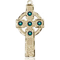 Kilklispeen Cross Medal - May Birthstone - 14 KT Gold #88214