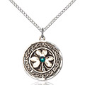 Shamrock - Celtic Border Pendant - May Birthstone - Sterling Silver #88863