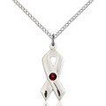 Cancer Awareness Pendant - January Birthstone - Sterling Silver #88924