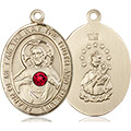 Scapular Medal - July Birthstone - 14 KT Gold #89666