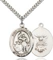 Sterling Silver St. Joan of Arc - Navy Pendant, Navy