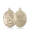 14kt Gold St. Michael the Archangel Medal, Coast Guard