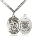 Sterling Silver St. Michael the Archangel Pendant, Coast Guard