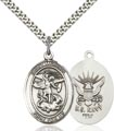 Sterling Silver St. Michael the Archangel Pendant, Navy