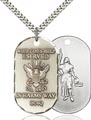Sterling Silver Navy Iraq - St Joan of Arc Pendant, Navy