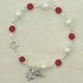 Holy Spirit Bracelet with Pearl and Red Crystal