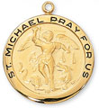 St. Michael Medal in Gold Plated Sterling Silver - Large Round