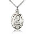 St. Pio of Pietrelcina Pendant - Sterling Silver - Long,    (#83053)