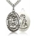 St. Michael the Archangel Medal - Sterling Silver - Large, Engravable  (#19044)