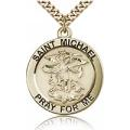 St. Michael the Archangel Medal - Gold Filled - Large, Engravable  (#81755)