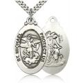 St. Michael the Archangel Medal - Sterling Silver - Large (#19131)