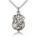 St. Michael the Archangel Pendant - Sterling Silver - Long,    (#84451)