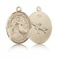 St. Joseph of Cupertino Medal - 14 KT Gold - Medium, Engravable  (#83438)