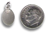 size of religious charm as compared with a dime